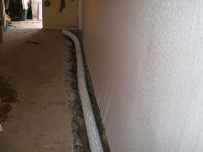 internal and external french drain installation procedure